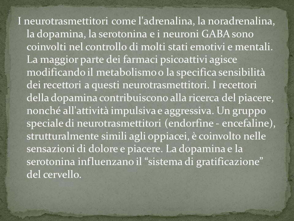 I neurotrasmettitori come l adrenalina, la noradrenalina, la dopamina, la serotonina e i neuroni GABA sono coinvolti nel controllo di molti stati emotivi e mentali.