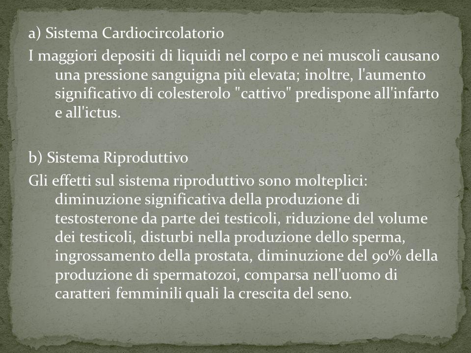 a) Sistema Cardiocircolatorio I maggiori depositi di liquidi nel corpo e nei muscoli causano una pressione sanguigna più elevata; inoltre, l aumento significativo di colesterolo cattivo predispone all infarto e all ictus.