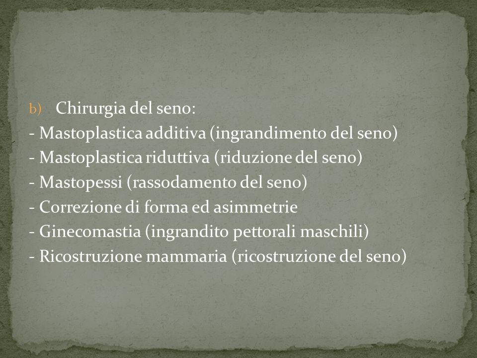 Chirurgia del seno: - Mastoplastica additiva (ingrandimento del seno) - Mastoplastica riduttiva (riduzione del seno)