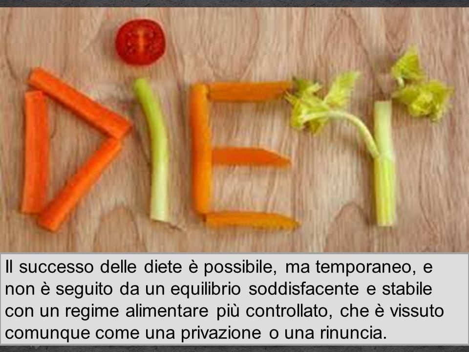 Il successo delle diete è possibile, ma temporaneo, e non è seguito da un equilibrio soddisfacente e stabile con un regime alimentare più controllato, che è vissuto comunque come una privazione o una rinuncia.