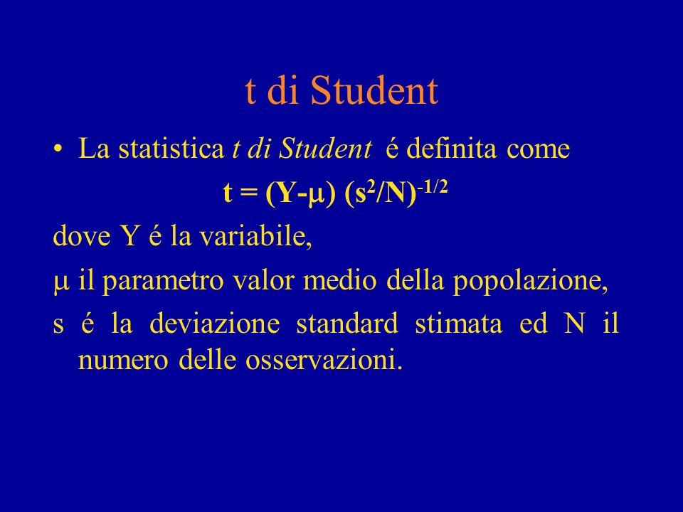 t di Student La statistica t di Student é definita come