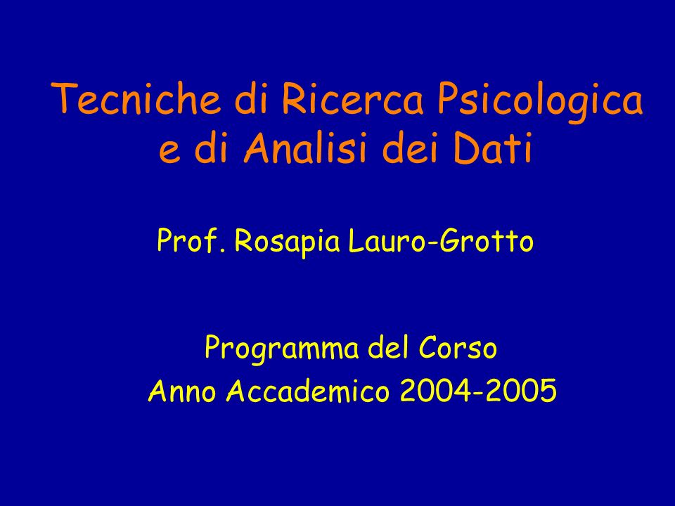 Programma del Corso Anno Accademico 2004-2005