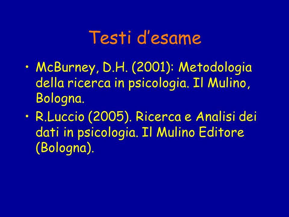 Testi d'esame McBurney, D.H. (2001): Metodologia della ricerca in psicologia. Il Mulino, Bologna.