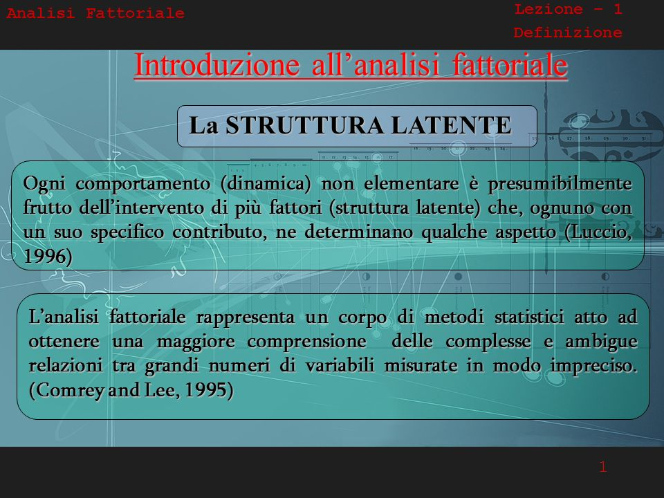 Introduzione all'analisi fattoriale