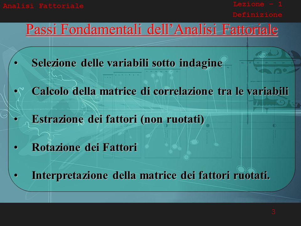 Passi Fondamentali dell'Analisi Fattoriale