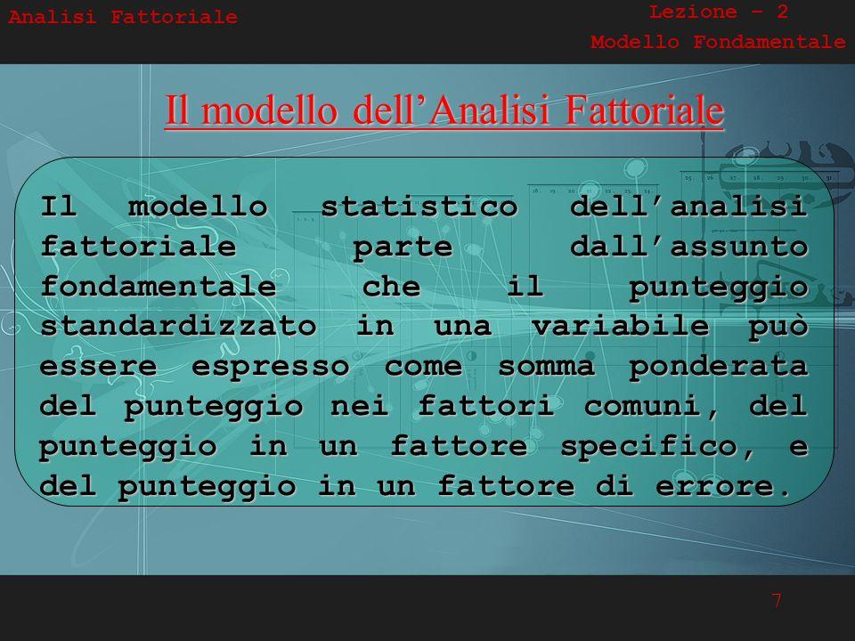 Il modello dell'Analisi Fattoriale