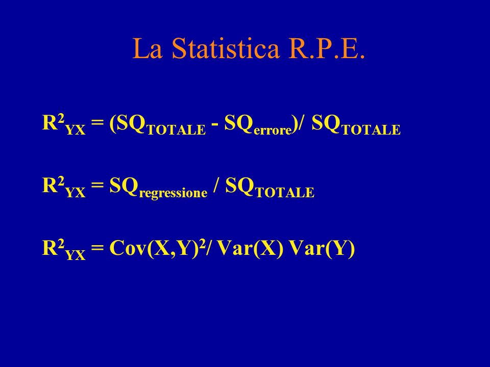 La Statistica R.P.E. R2YX = (SQTOTALE - SQerrore)/ SQTOTALE