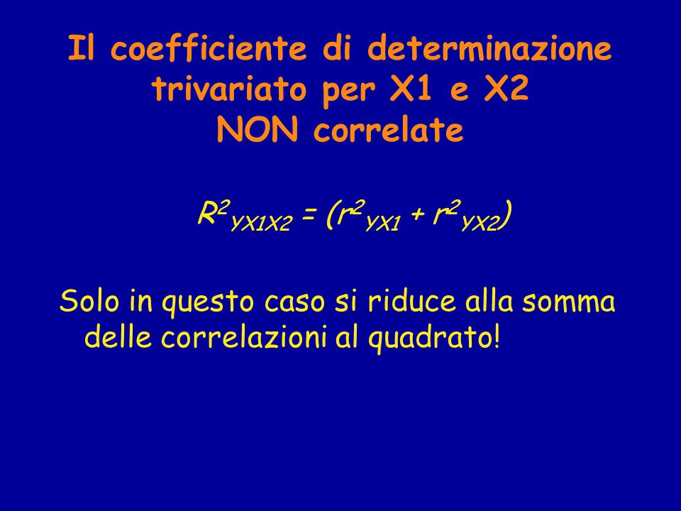 Il coefficiente di determinazione trivariato per X1 e X2 NON correlate