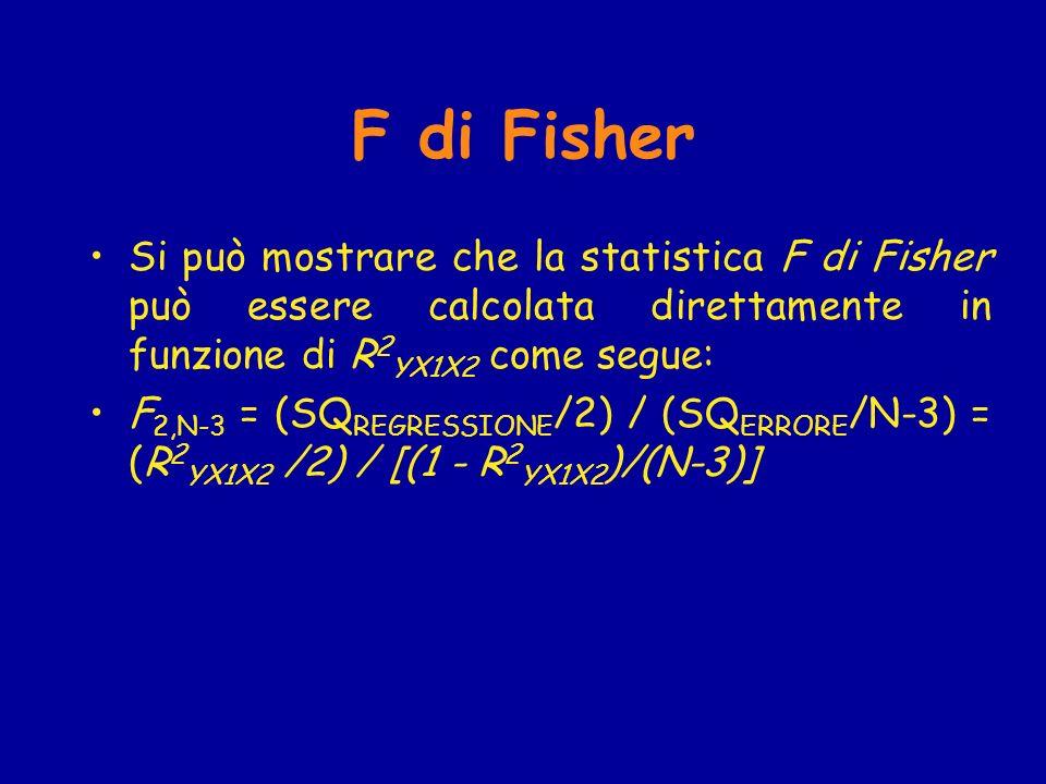 F di Fisher Si può mostrare che la statistica F di Fisher può essere calcolata direttamente in funzione di R2YX1X2 come segue: