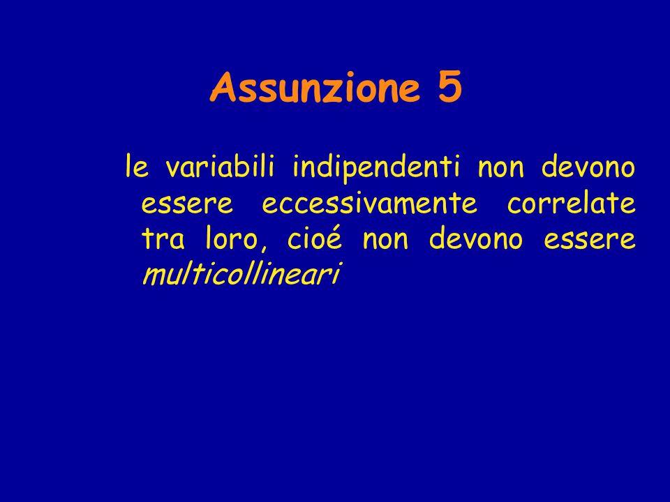 Assunzione 5 le variabili indipendenti non devono essere eccessivamente correlate tra loro, cioé non devono essere multicollineari.