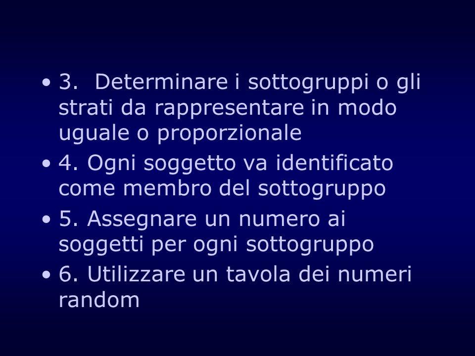 3. Determinare i sottogruppi o gli strati da rappresentare in modo uguale o proporzionale