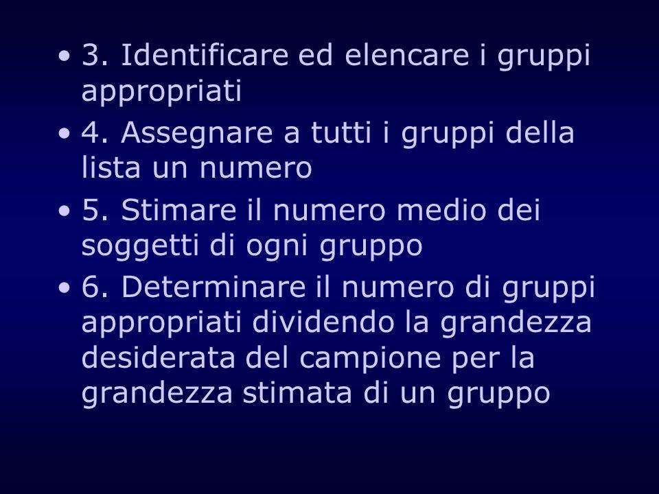 3. Identificare ed elencare i gruppi appropriati
