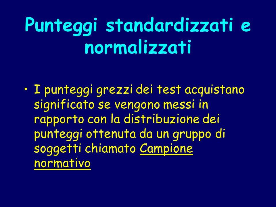 Punteggi standardizzati e normalizzati