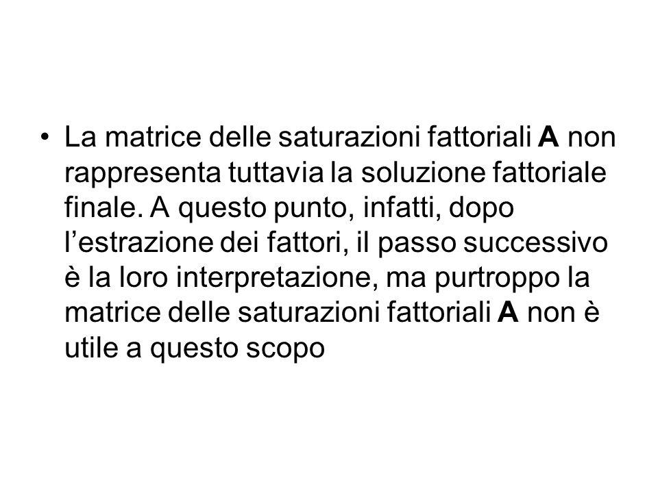 La matrice delle saturazioni fattoriali A non rappresenta tuttavia la soluzione fattoriale finale.