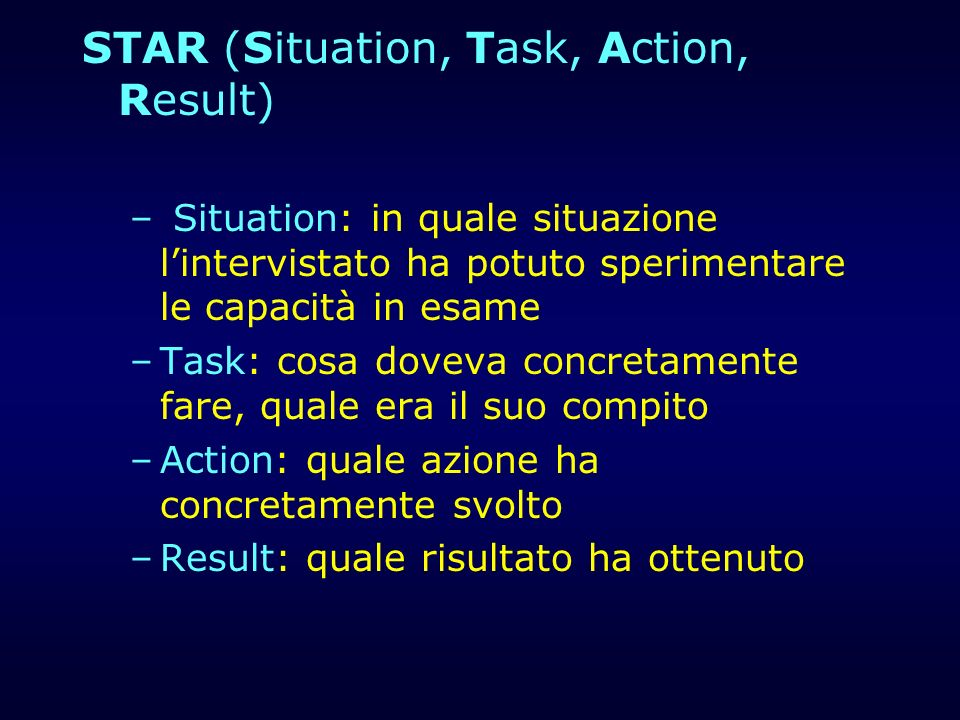 STAR (Situation, Task, Action, Result)