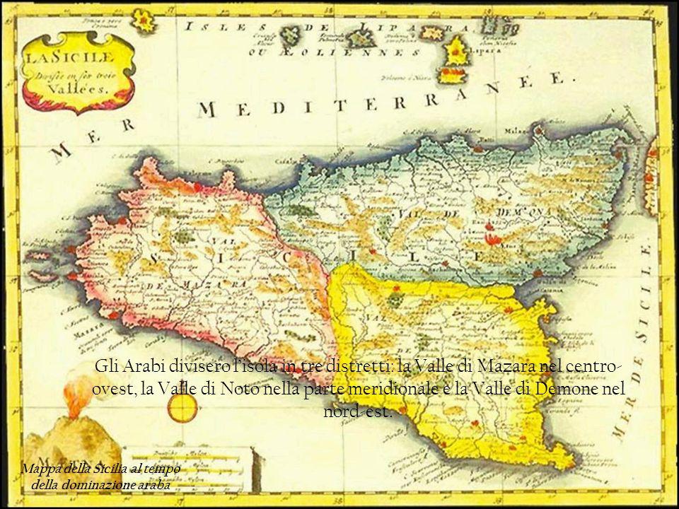 Mappa della Sicilia al tempo della dominazione araba