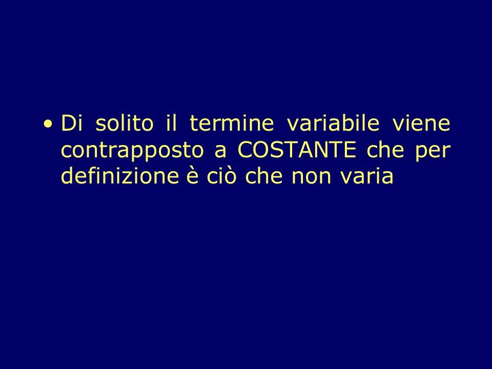 Di solito il termine variabile viene contrapposto a COSTANTE che per definizione è ciò che non varia