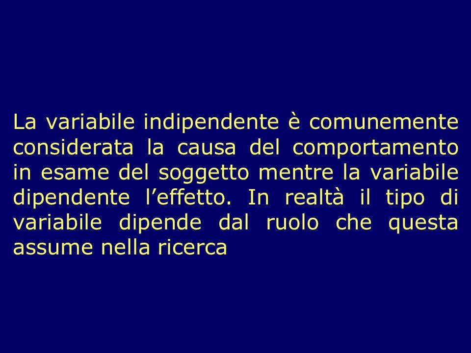 La variabile indipendente è comunemente considerata la causa del comportamento in esame del soggetto mentre la variabile dipendente l'effetto.