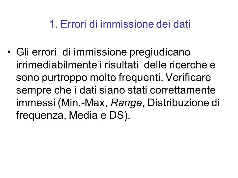 1. Errori di immissione dei dati