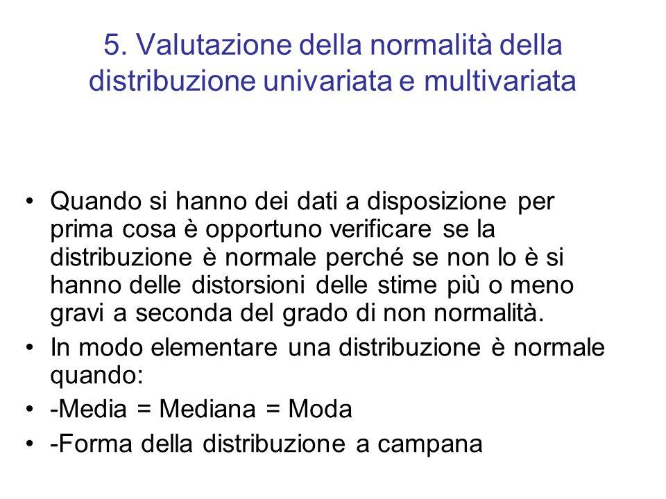 5. Valutazione della normalità della distribuzione univariata e multivariata