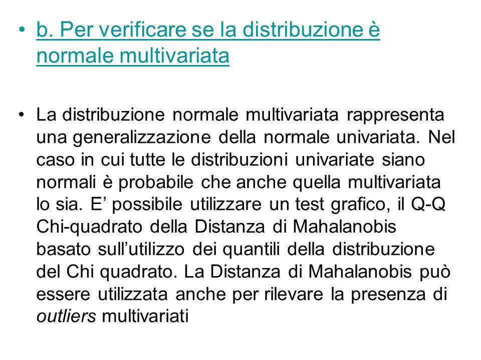 b. Per verificare se la distribuzione è normale multivariata