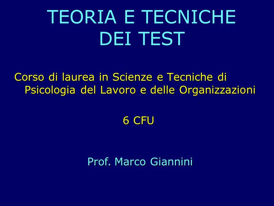 TEORIA E TECNICHE DEI TEST