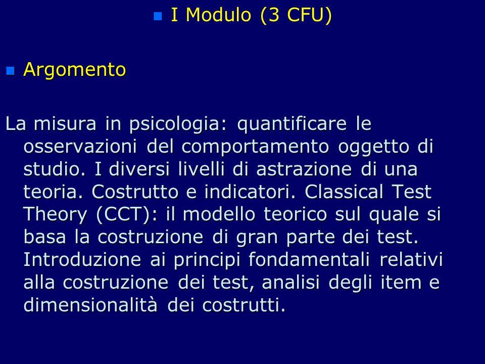 I Modulo (3 CFU) Argomento.