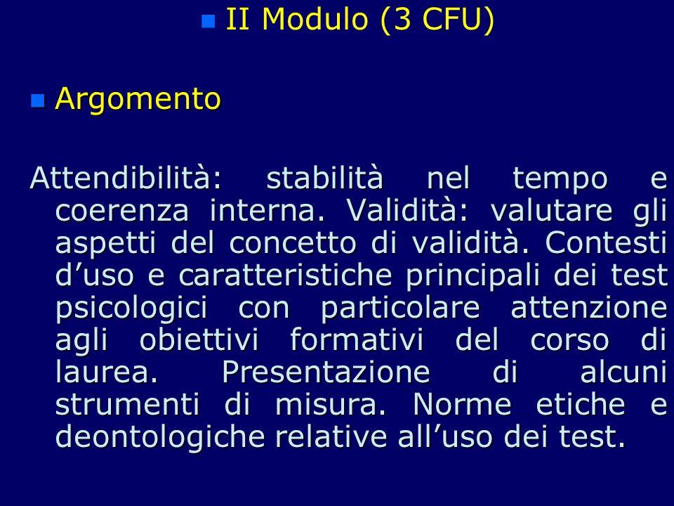 II Modulo (3 CFU) Argomento.