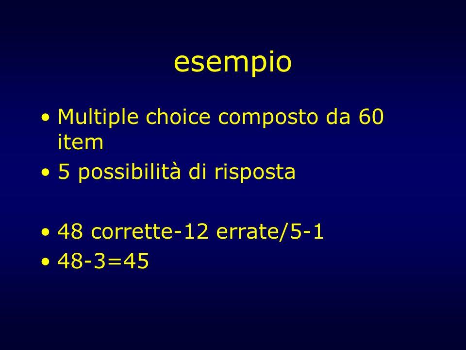 esempio Multiple choice composto da 60 item 5 possibilità di risposta