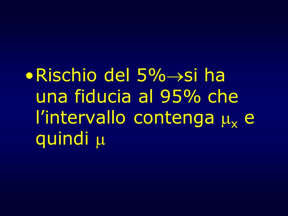 Rischio del 5%si ha una fiducia al 95% che l'intervallo contenga x e quindi 