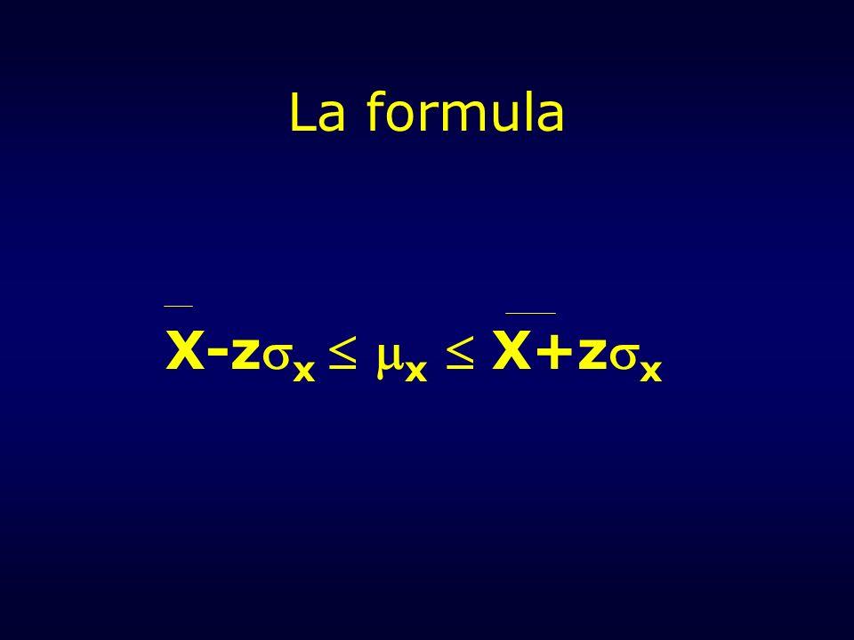 La formula X-zx  x  X+zx