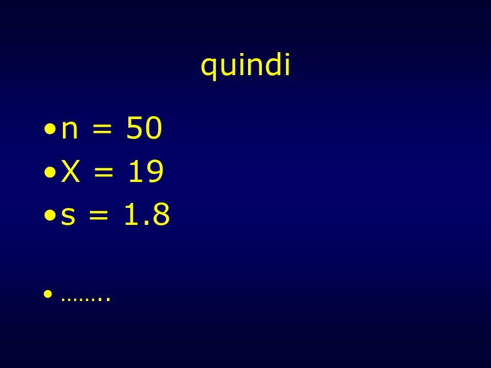 quindi n = 50 X = 19 s = 1.8 ……..