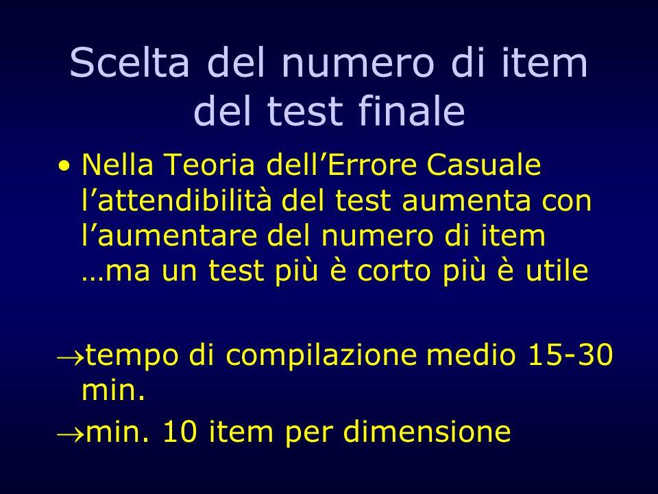 Scelta del numero di item del test finale