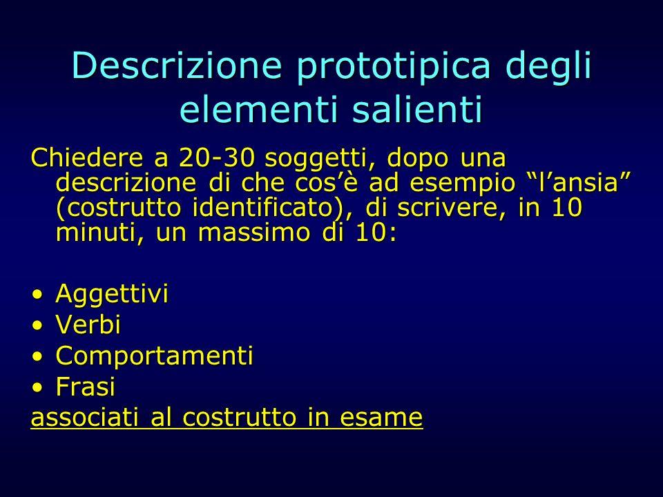 Descrizione prototipica degli elementi salienti