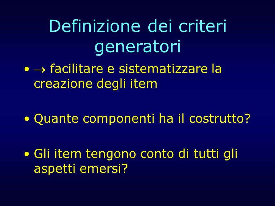 Definizione dei criteri generatori