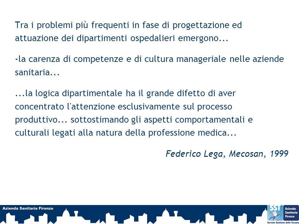 Tra i problemi più frequenti in fase di progettazione ed attuazione dei dipartimenti ospedalieri emergono...