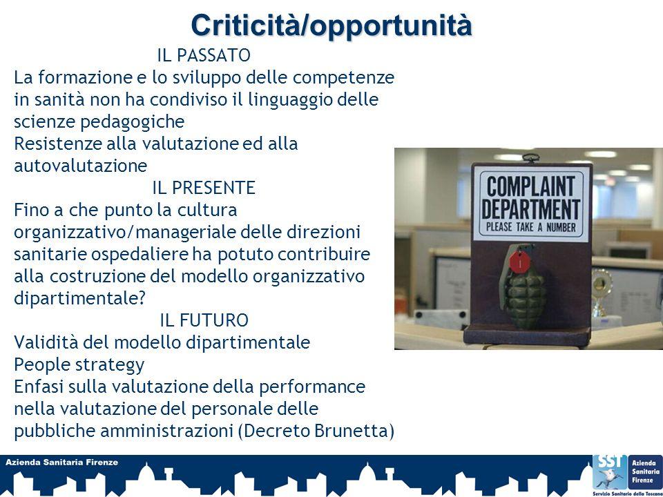 Criticità/opportunità