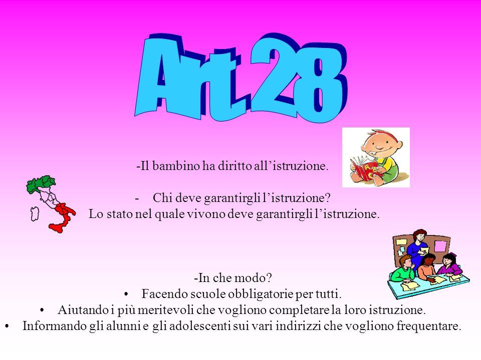 Art. 28 -Il bambino ha diritto all'istruzione.