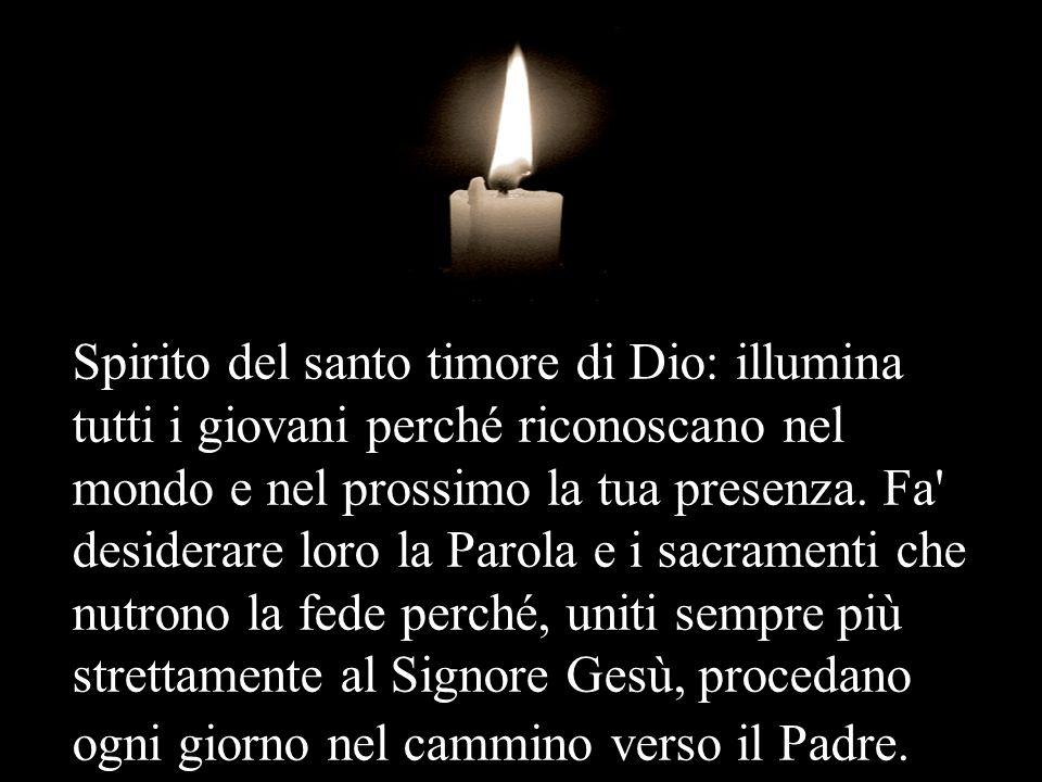 Spirito del santo timore di Dio: illumina tutti i giovani perché riconoscano nel mondo e nel prossimo la tua presenza.