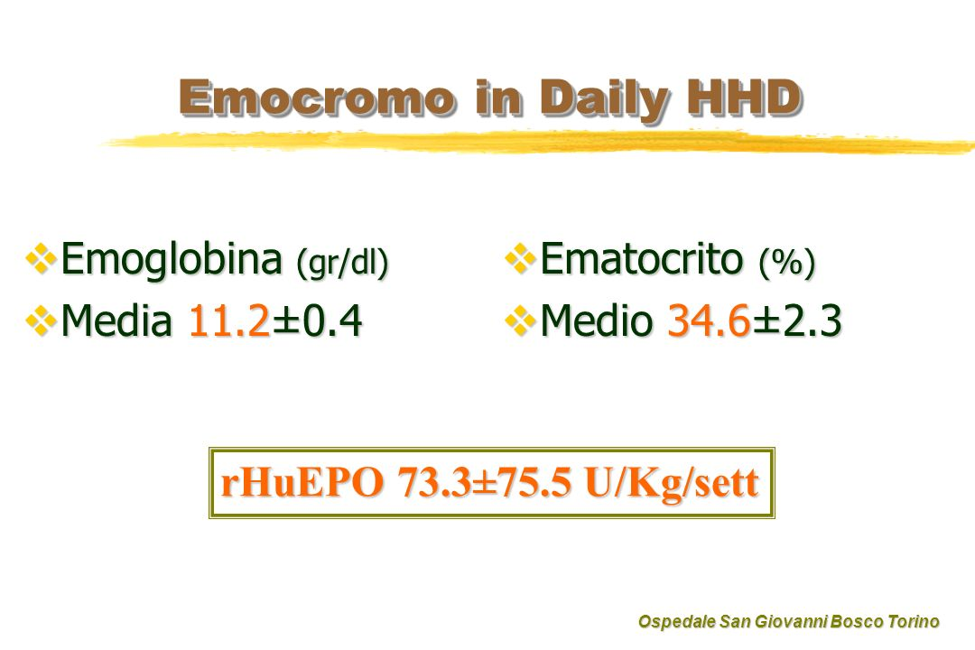 Emocromo in Daily HHD Emoglobina (gr/dl) Media 11.2±0.4 Ematocrito (%)