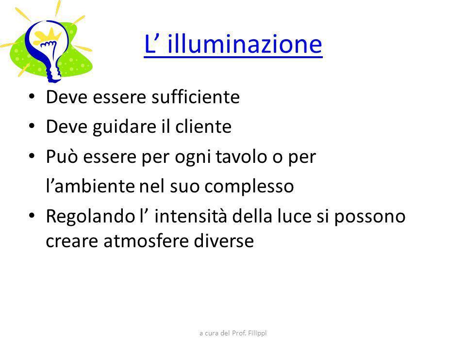 L' illuminazione Deve essere sufficiente Deve guidare il cliente