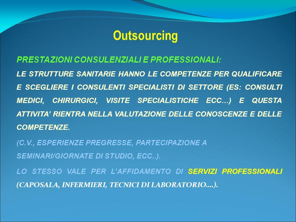 Outsourcing PRESTAZIONI CONSULENZIALI E PROFESSIONALI: