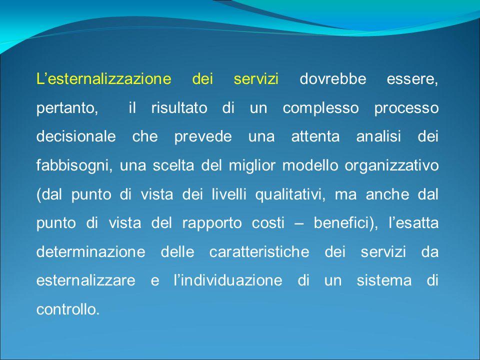 L'esternalizzazione dei servizi dovrebbe essere, pertanto, il risultato di un complesso processo decisionale che prevede una attenta analisi dei fabbisogni, una scelta del miglior modello organizzativo (dal punto di vista dei livelli qualitativi, ma anche dal punto di vista del rapporto costi – benefici), l'esatta determinazione delle caratteristiche dei servizi da esternalizzare e l'individuazione di un sistema di controllo.