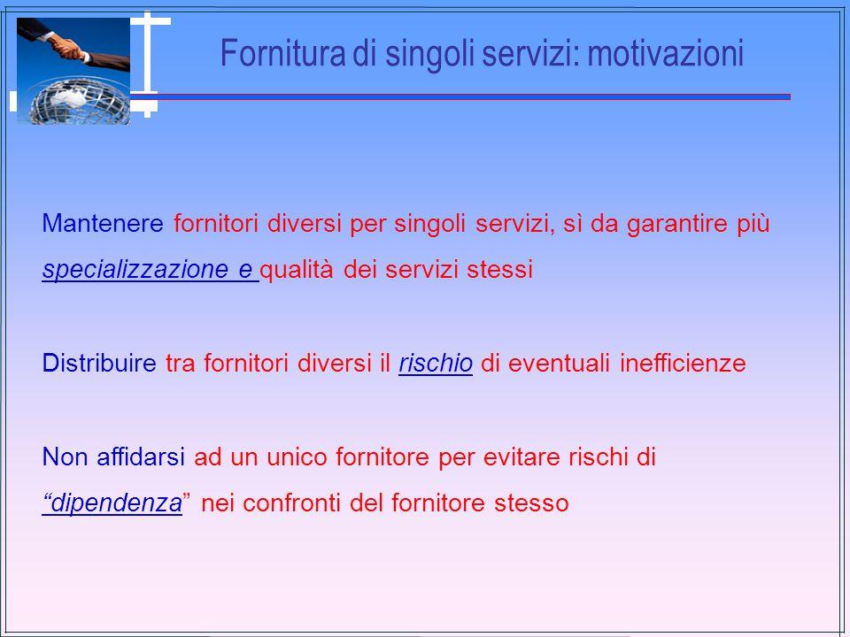 Fornitura di singoli servizi: motivazioni