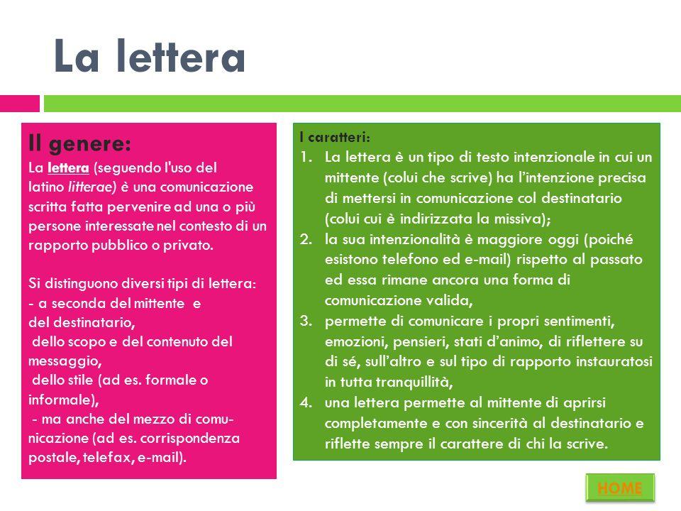 La lettera Il genere: I caratteri: