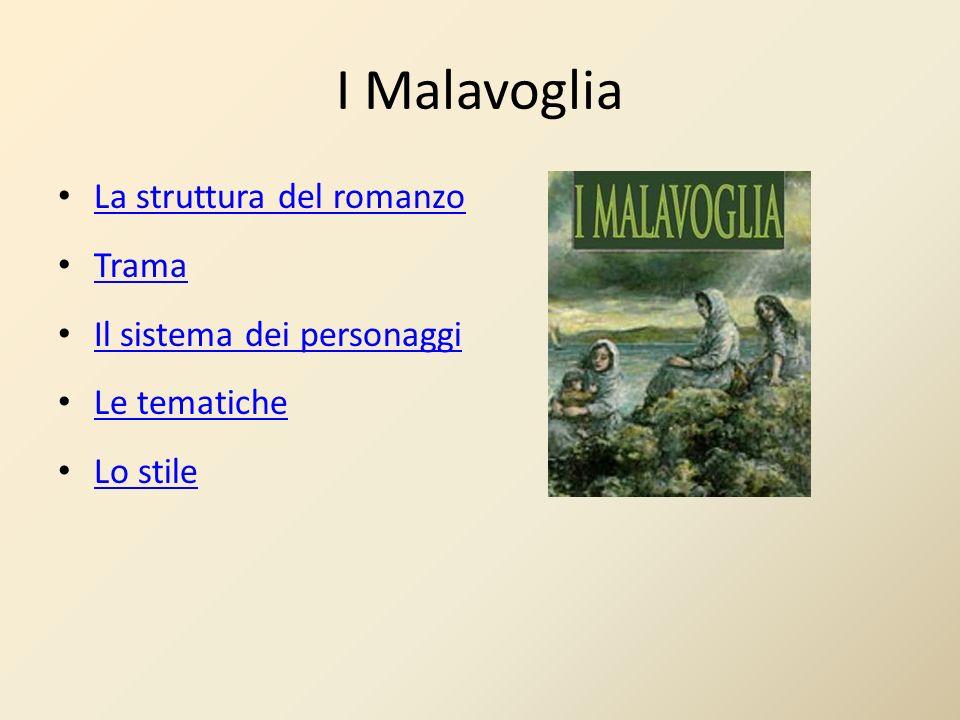 I Malavoglia La struttura del romanzo Trama Il sistema dei personaggi