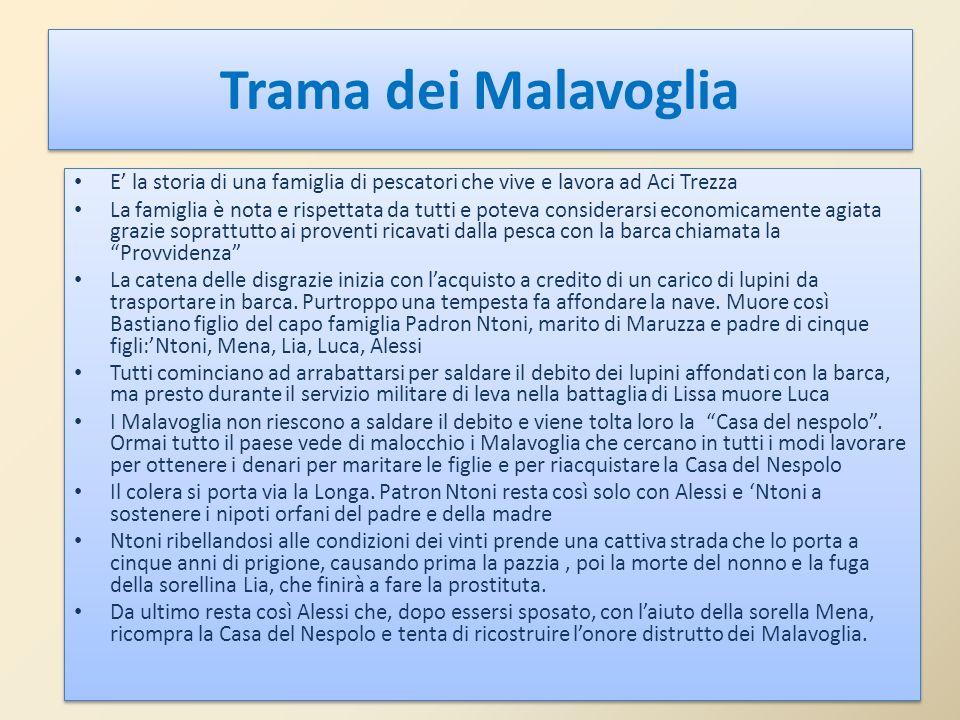 Trama dei Malavoglia E' la storia di una famiglia di pescatori che vive e lavora ad Aci Trezza.