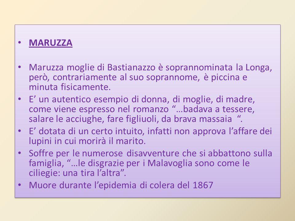 MARUZZA Maruzza moglie di Bastianazzo è soprannominata la Longa, però, contrariamente al suo soprannome, è piccina e minuta fisicamente.