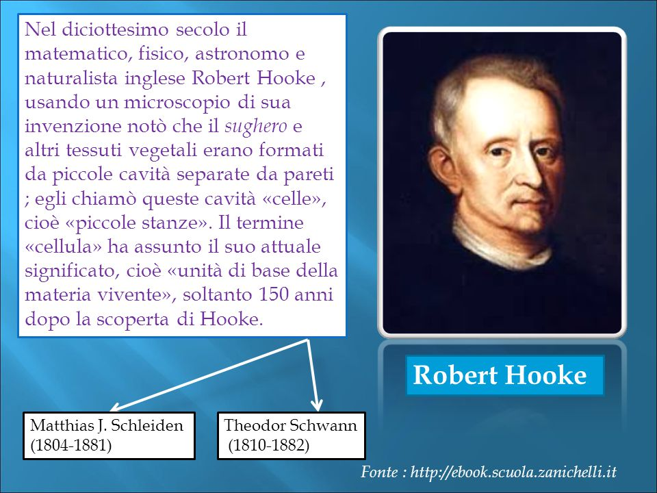 Nel diciottesimo secolo il matematico, fisico, astronomo e naturalista inglese Robert Hooke , usando un microscopio di sua invenzione notò che il sughero e altri tessuti vegetali erano formati da piccole cavità separate da pareti ; egli chiamò queste cavità «celle», cioè «piccole stanze». Il termine «cellula» ha assunto il suo attuale significato, cioè «unità di base della materia vivente», soltanto 150 anni dopo la scoperta di Hooke.