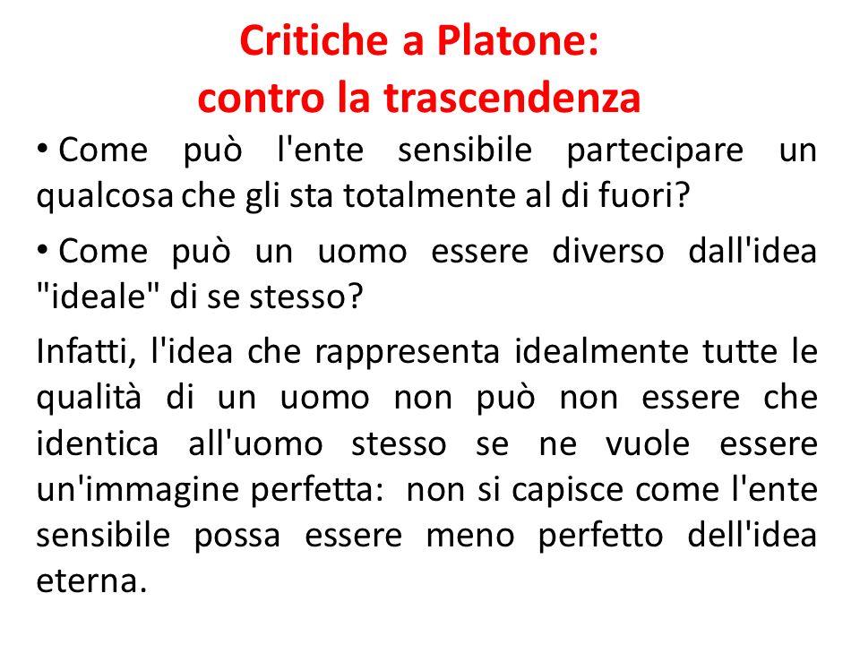 Critiche a Platone: contro la trascendenza